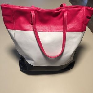 Cynthia Rowley Leather Colorblock Tote Stripe Bag